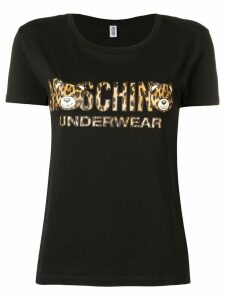 Moschino leopard logo T-shirt - Black