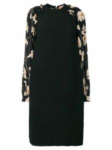 Nº21 floral sleeve midi silk dress - Black