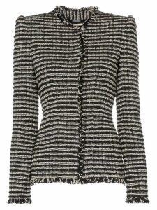 Alexander McQueen frayed edges fitted tweed jacket - Black