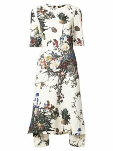 Adam Lippes printed short-sleeve trapeze dress - Multicolour