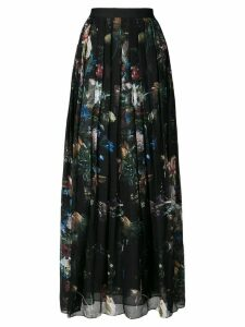 Adam Lippes printed pleated midi skirt - Black