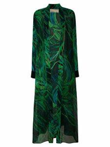 Elie Saab long printed coat - Green