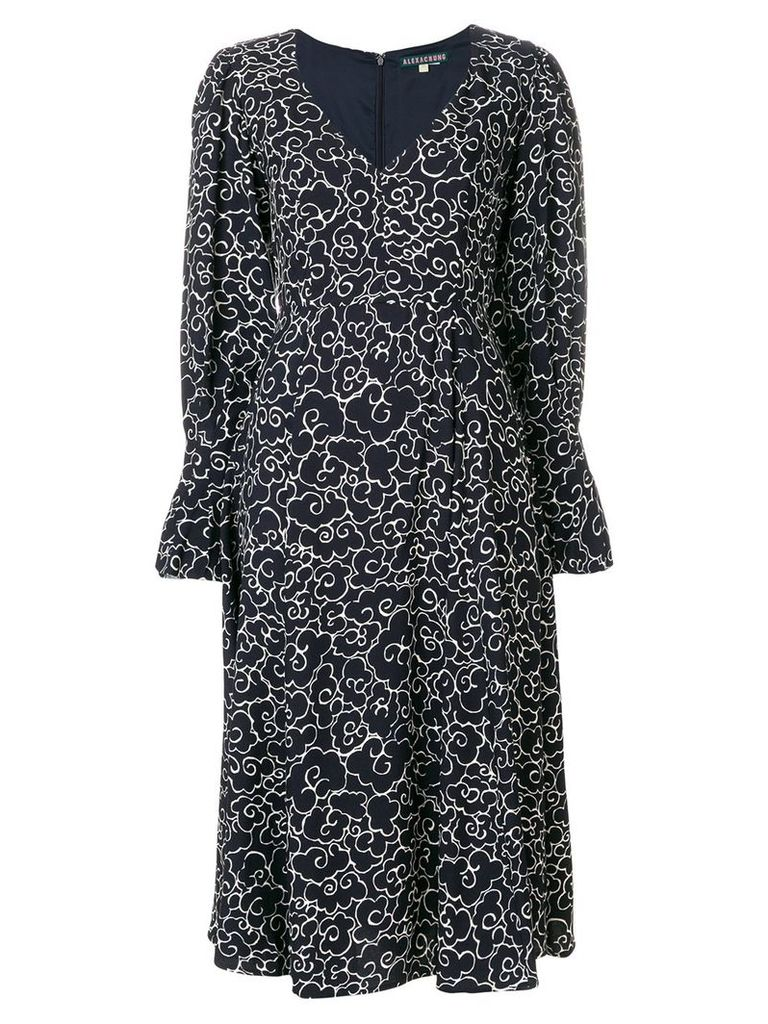 Alexa Chung clouds print longsleeved dress - Blue