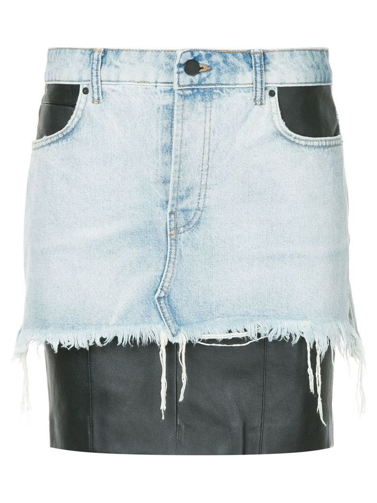 Alexander Wang leather insert denim skirt - Blue