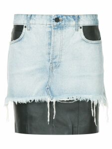 Alexander Wang leather insert denim skirt - Blue