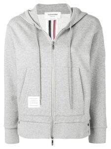Thom Browne Center-Back Stripe Zip-Up Hoodie - Grey