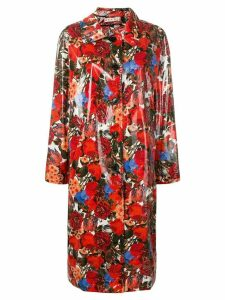 Marni coated floral print coat - Red