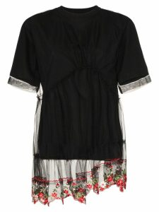 Simone Rocha floral embroidered lace peplum T-shirt - Black