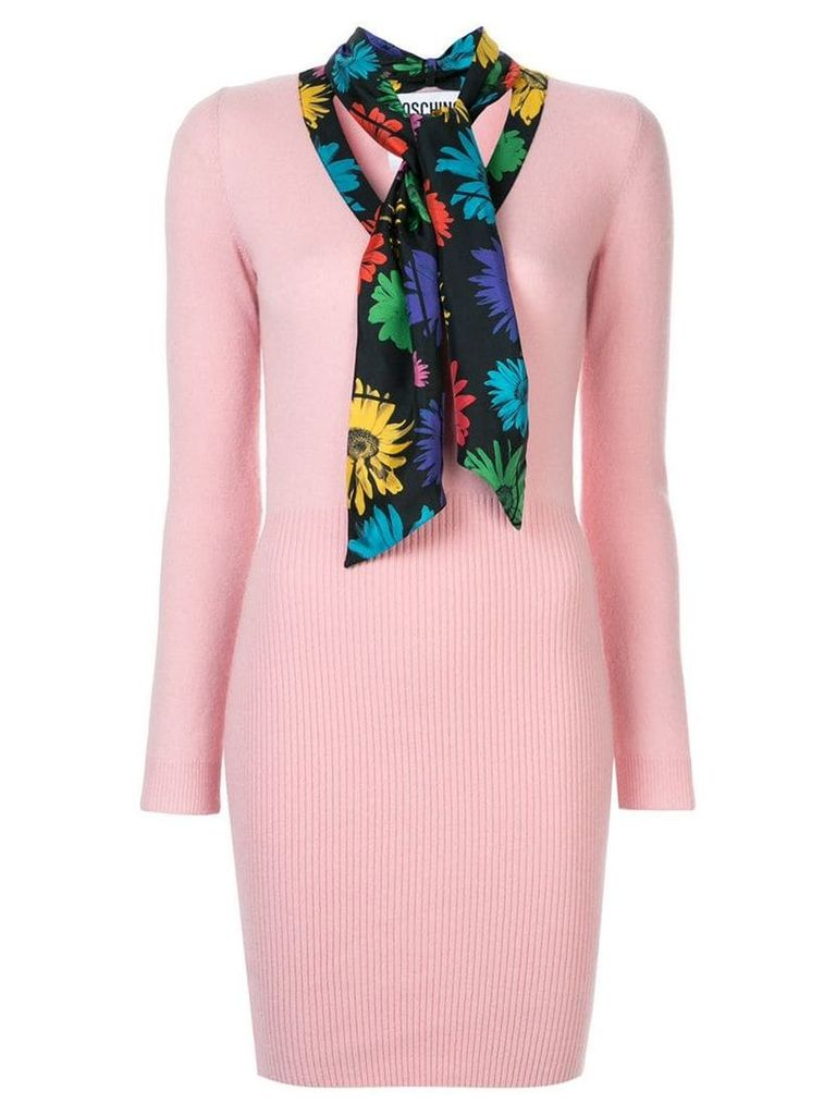 Moschino scarf detail ribbed mini dress - Pink