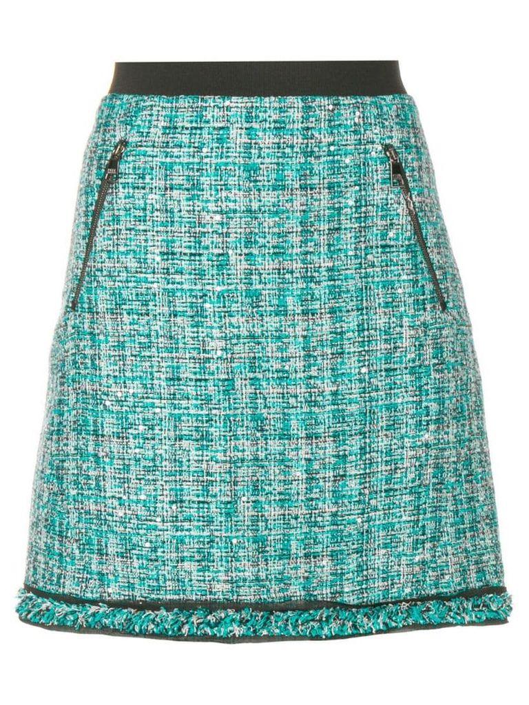 Karl Lagerfeld A-line tweed skirt - Blue
