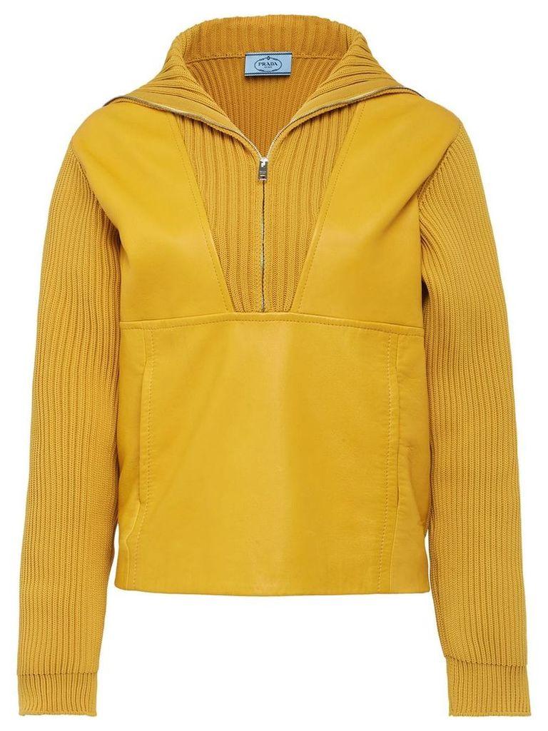 Prada ribbed zipped jumper - Yellow