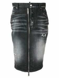 Dsquared2 zip detail denim skirt - Black