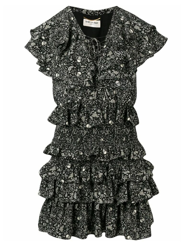 Saint Laurent USA Skull ruffled chiffon dress - Black