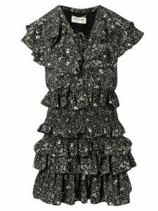 Saint Laurent USA Skull ruffled chiffon dress - Black