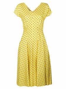 Talbot Runhof polka dot flared dress - Yellow