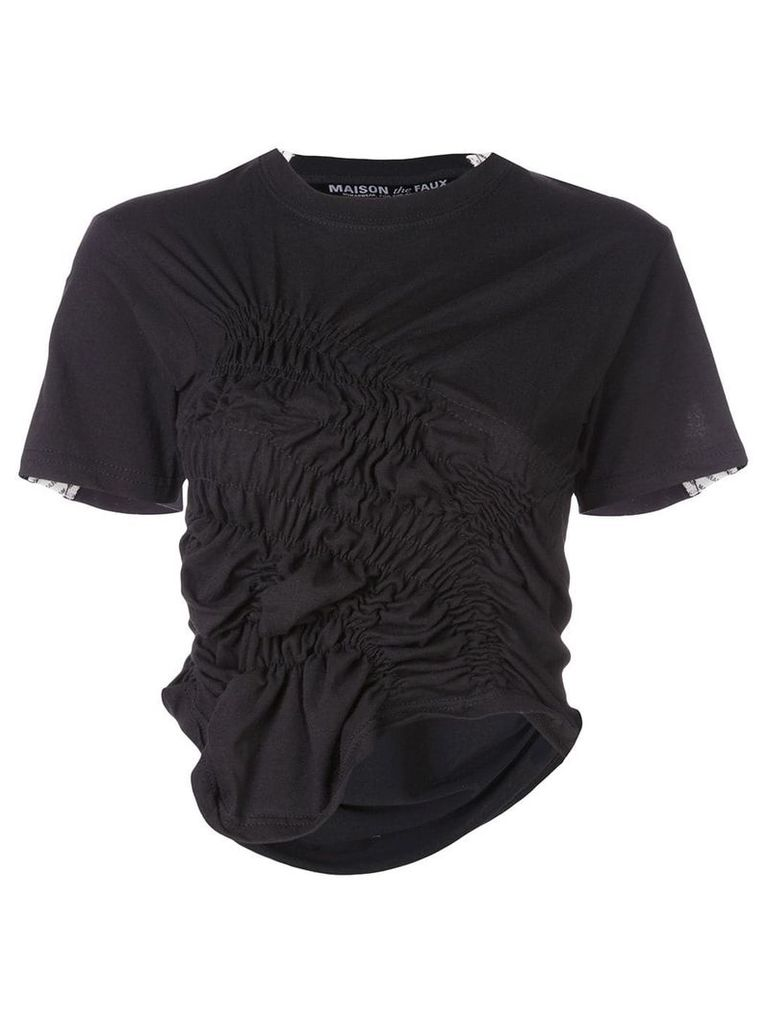 Maison The Faux cropped gathered T-shirt - Black