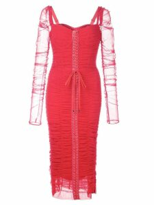 Dolce & Gabbana ruched lace-up dress - Red