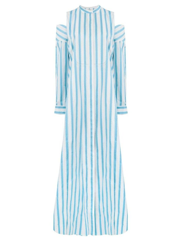Maison Rabih Kayrouz off-shoulder striped long dress - Blue