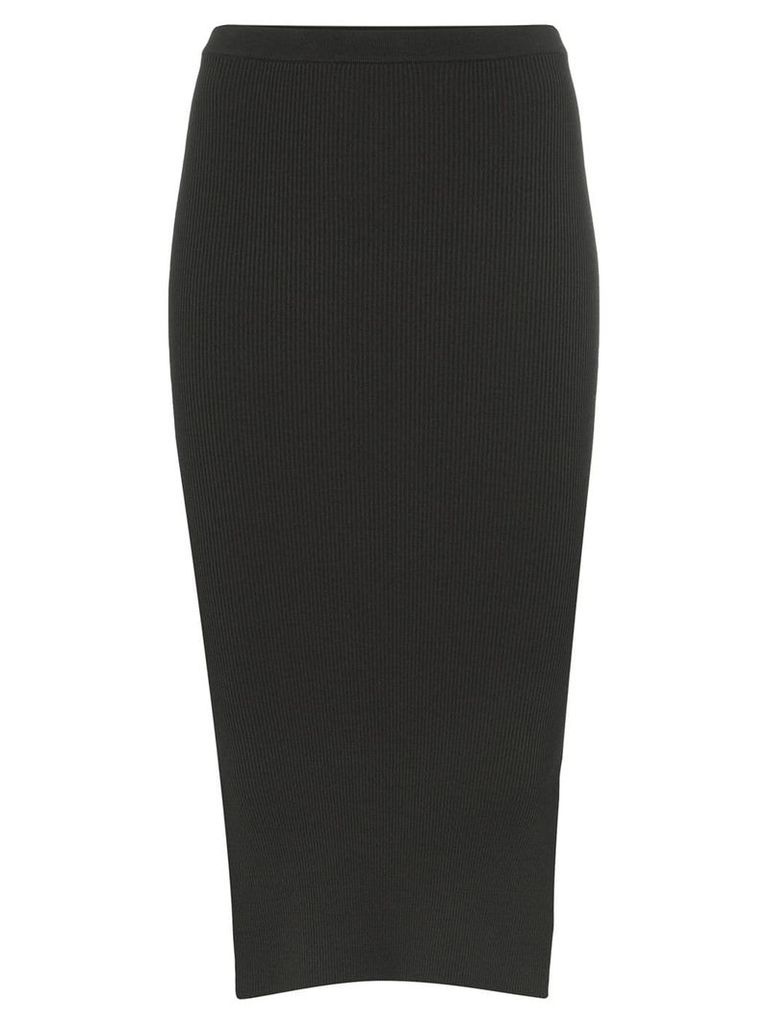 Rick Owens ribbed side slit fitted skirt - Blue