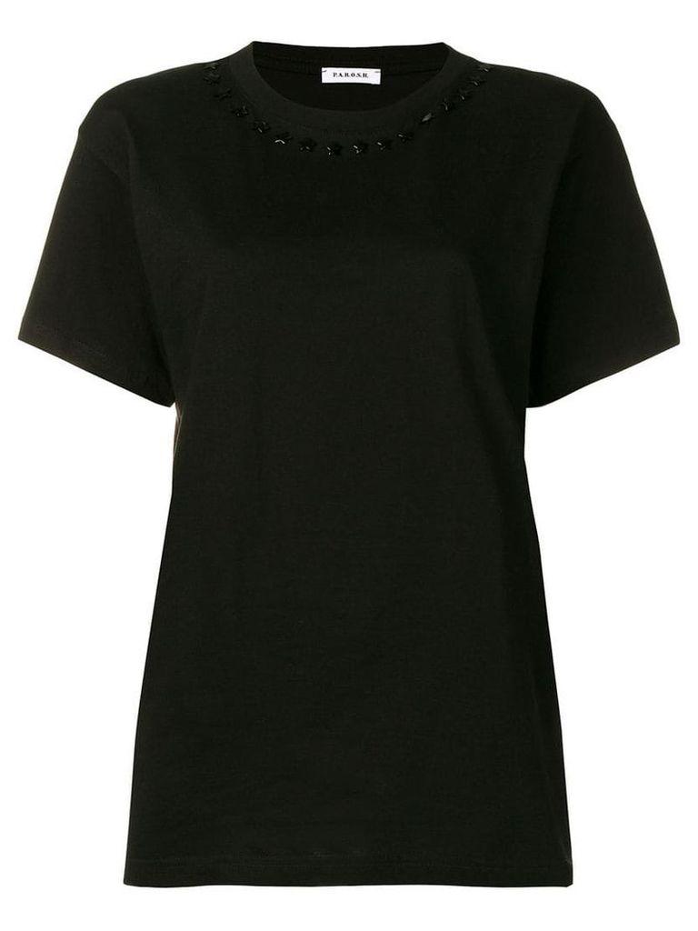 P.A.R.O.S.H. embellished collar T-shirt - Black