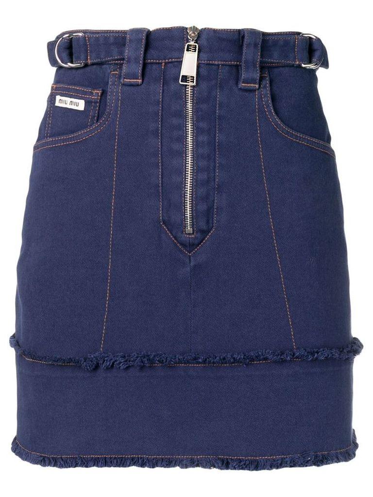 Miu Miu zip fringed denim skirt - Blue