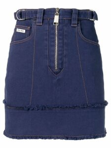 Miu Miu zip fringed denim skirt - Blue