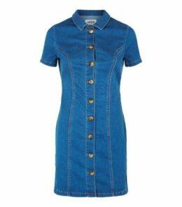 Blue Button Front Denim Mini Dress New Look