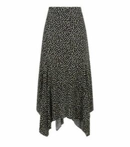 Black Spot Hanky Hem Midi Skirt New Look