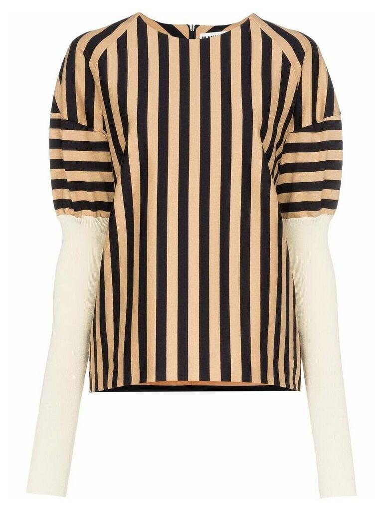 Jil Sander long puffed sleeve striped top - Black