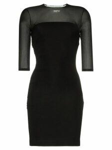 Off-White sheer panel stretch mini-dress - Black