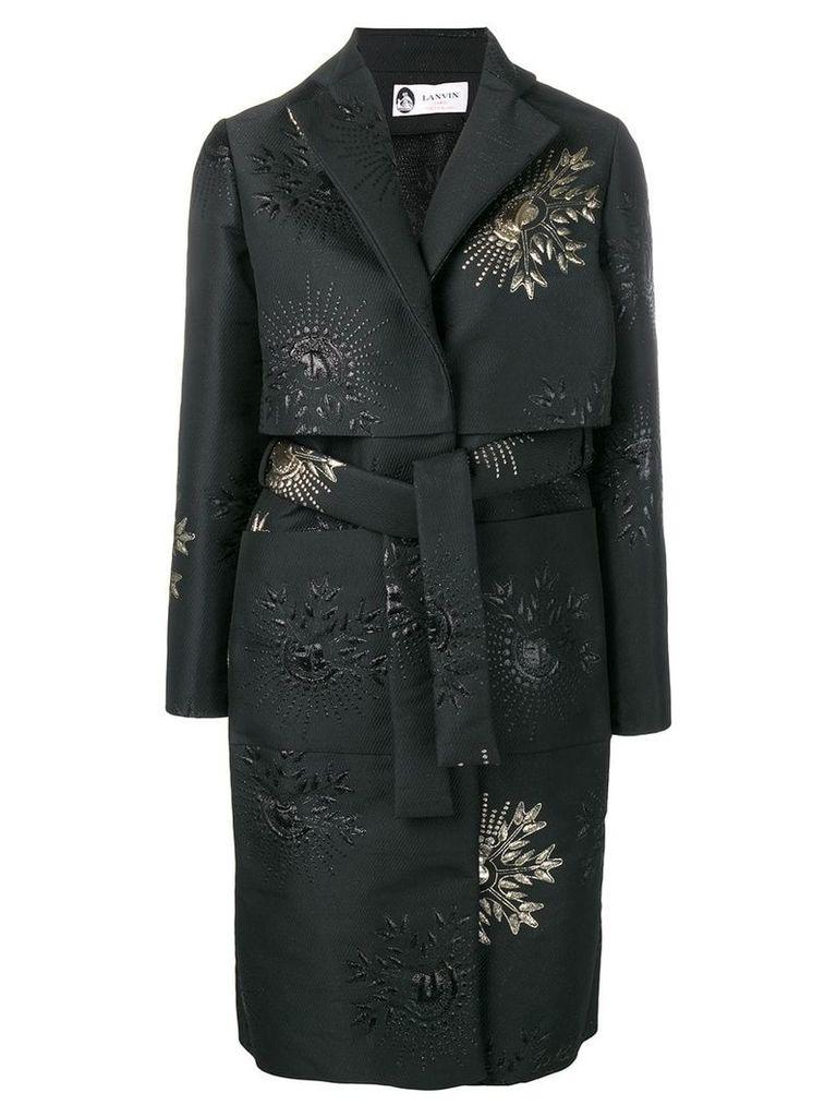 Lanvin embroidered detail belted coat - Black