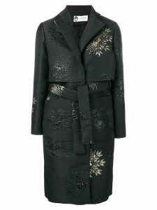 LANVIN embroidered detail belted coat - Black