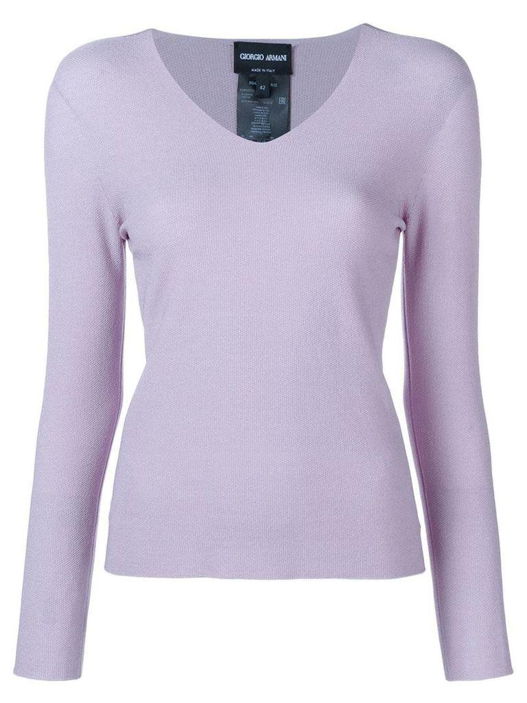 Giorgio Armani V-neck knit jumper - Purple