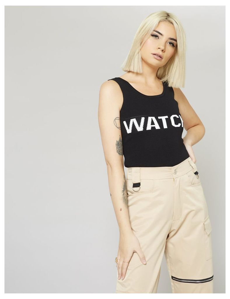 Slogan Knitted Top, Black