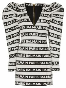 Balmain structured shoulder logo-striped mini-dress - White
