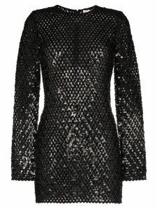 Saint Laurent sequin embellished knitted mini dress - Black