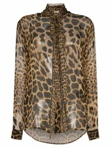 Saint Laurent tie-neck leopard-print blouse - Brown