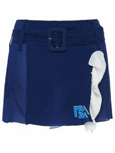 Prada belted chiffon skirt - Blue