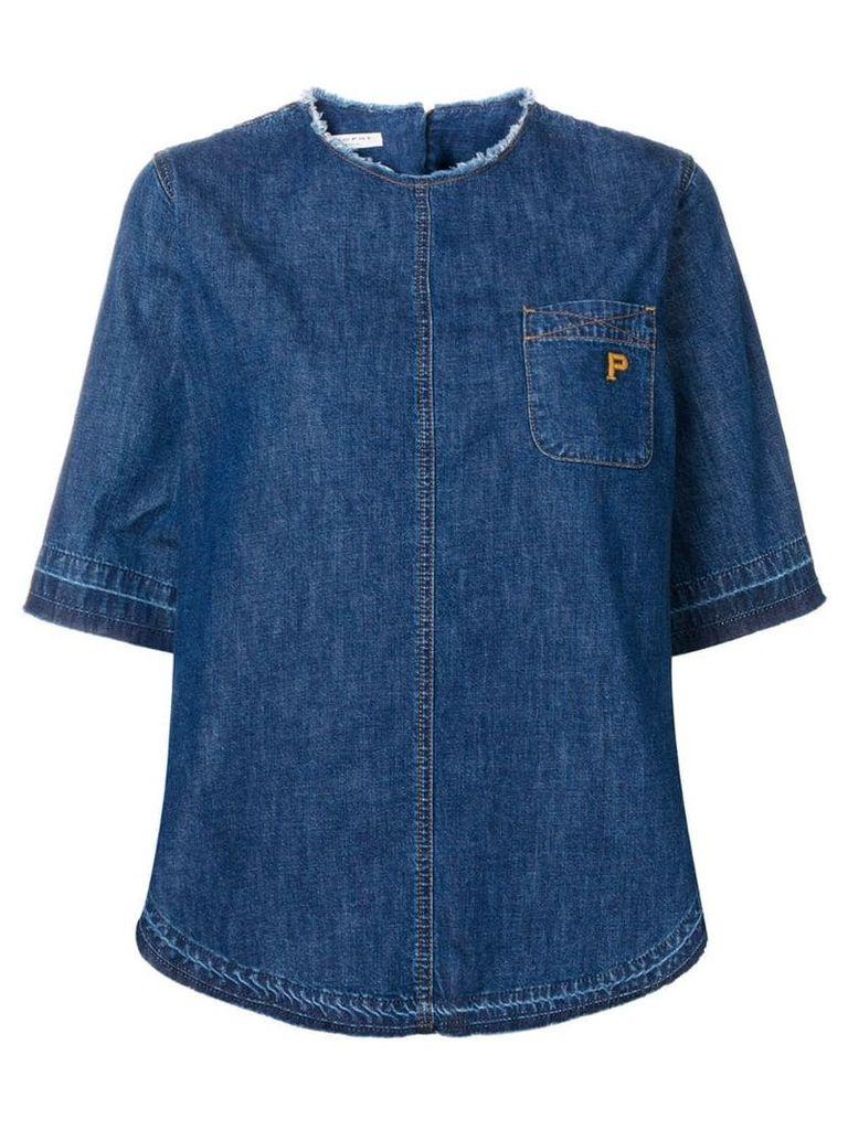 Philosophy Di Lorenzo Serafini frayed denim T-shirt - Blue