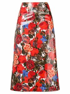 Marni floral print midi skirt - Red