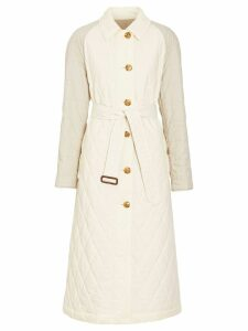 Burberry Reversible Contrast Sleeve Quilted Cotton Car Coat - White