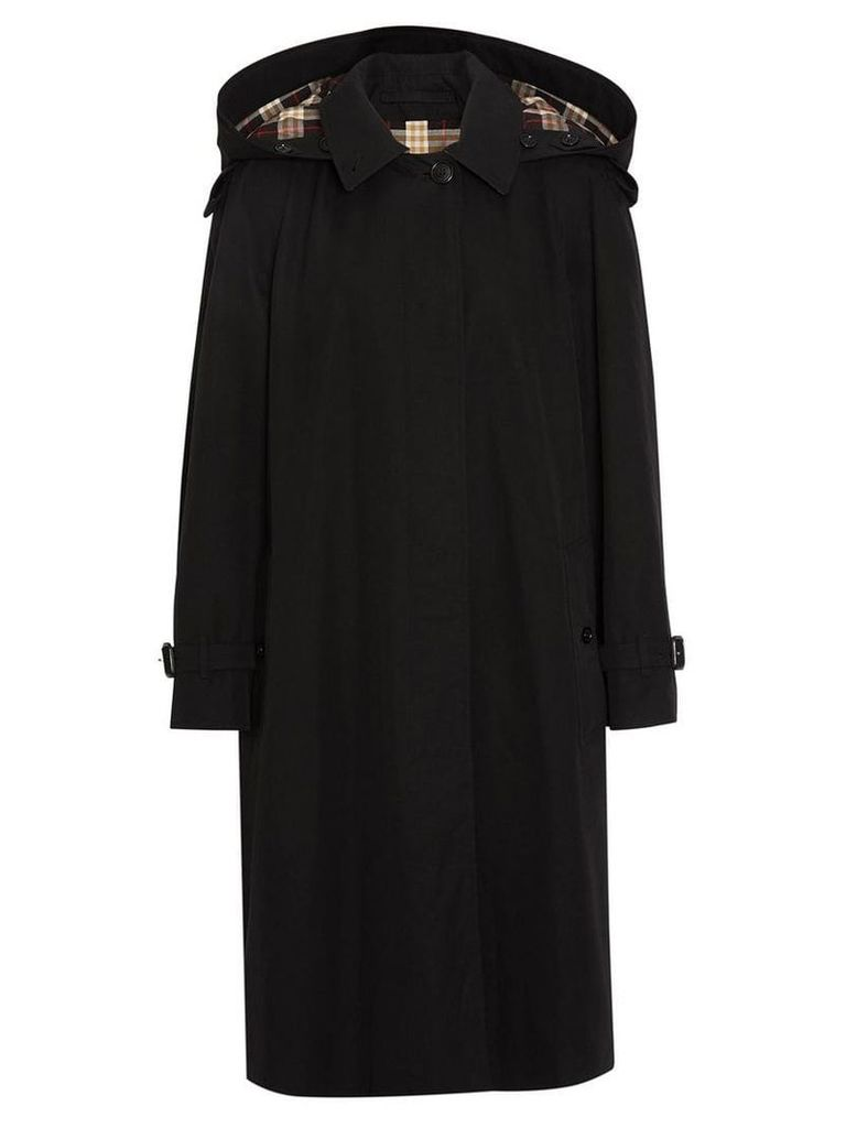 Burberry Detachable Hood Tropical Gabardine Car Coat - Black