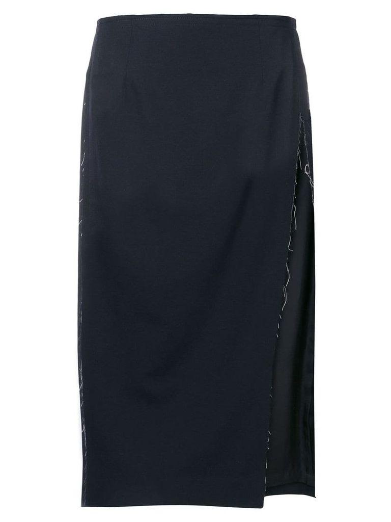 Comme Des Garçons raw edge straight skirt - Blue