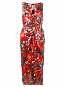 Marni floral print fitted dress - Red