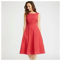Red Broderie Fit and Flare Dress