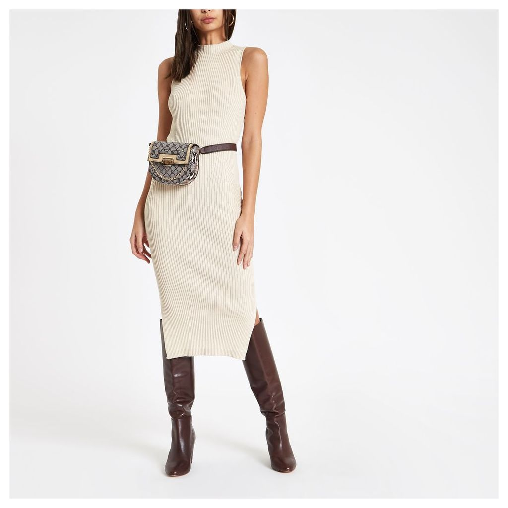 Womens Cream ribbed high neck midi dress