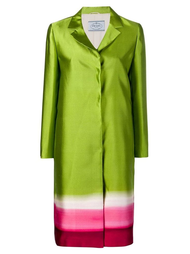 Prada Pre-Owned concealed fastening panelled coat - Green