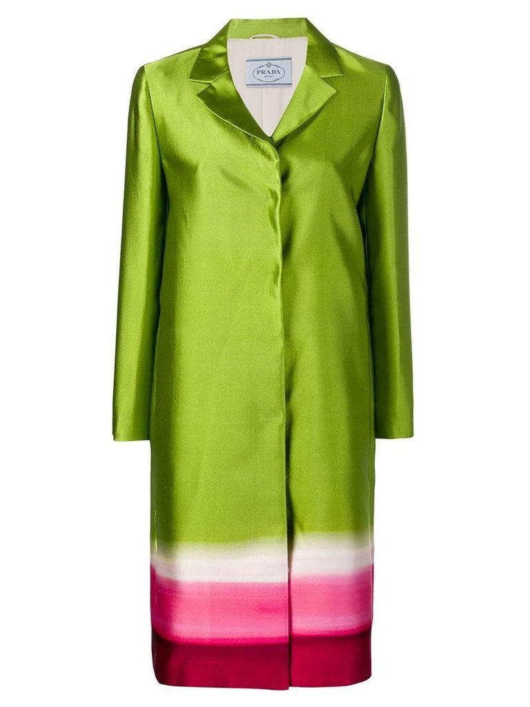 Prada Vintage concealed fastening panelled coat - Green