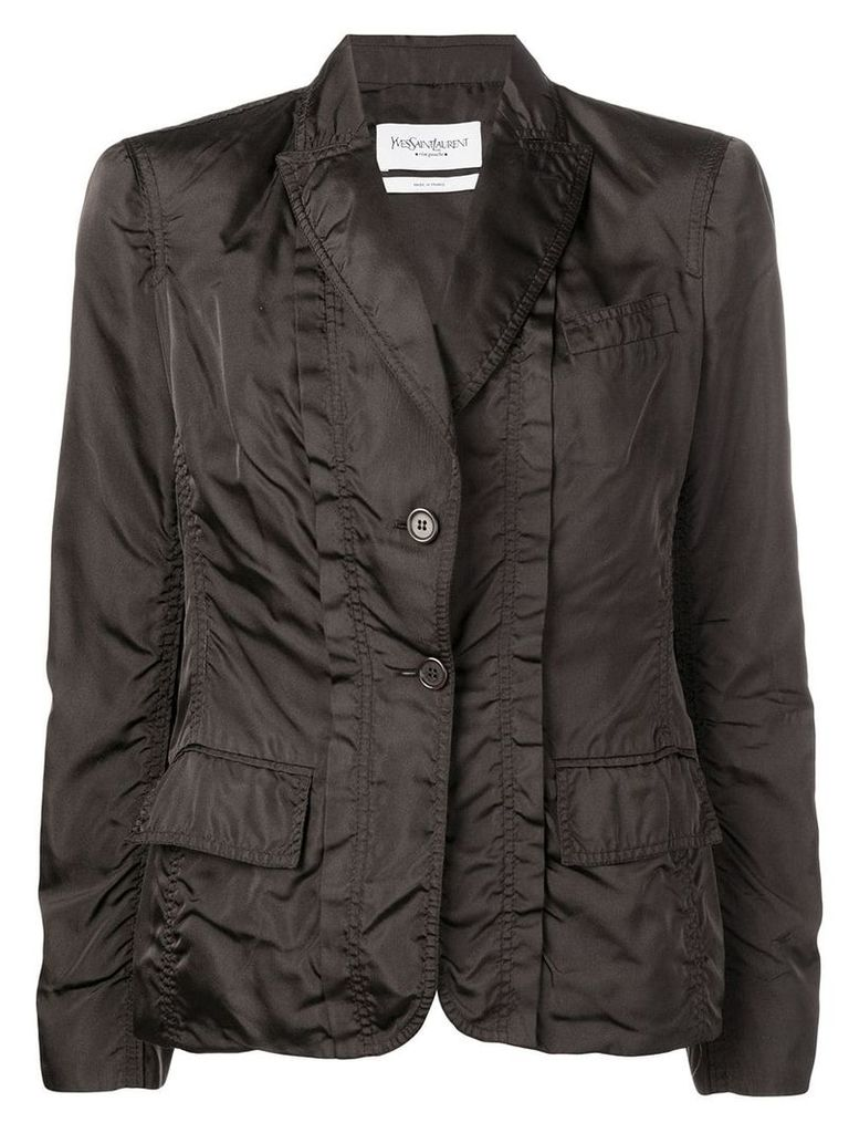 Yves Saint Laurent Vintage single breasted silk jacket - Brown