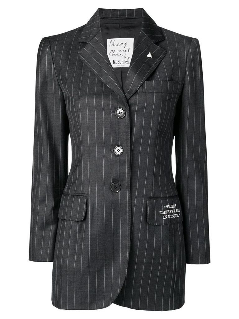 MOSCHINO PRE-OWNED pinstriped button-down blazer - Grey